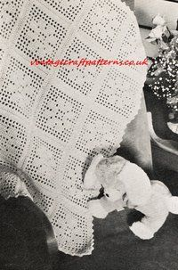 Filet Flower Cot Blanket - baby pram blanket - vintage crochet pattern