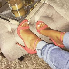 Coral shoes with white nail polish pedi