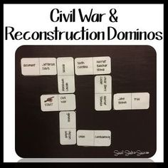 Civil War and Reconstruction Review Game - Dominos. This game is designed to help your students review for an assessment over the Civil War.