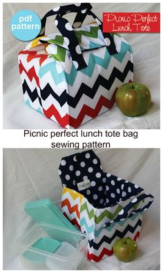 Picnic perfect lunch tote bag sewing pattern. I made this easy to sew bag to take our picnics to the beach and parks.
