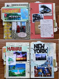 Travel pages, scrapbook