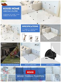 Dog Playpen Portable By KOUSI Large Plastic Pet Yard Fence For Small  Animals 12 Panels Popup Kennel Crate Fence Tent   Transparent
