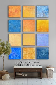 Abstract Wall Art large abstract painting, 9 square custom abstract wall art , large