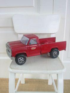 Vintage Toy Truck Red Metal Industrial Pickup Tonka by vintagejane