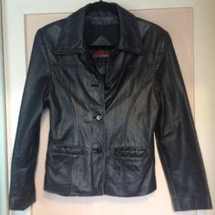 Vintage Black Genuine Lucky Leather Jacket Beautiful Genuine Leather Jacket. Excellent Condition. Fitted Button Up style, fully lined with cool stitching and cute pockets!!! Lucky Leather Jackets & Coats