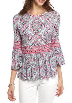 Crown  Ivy   Petite Print Peplum Shirt