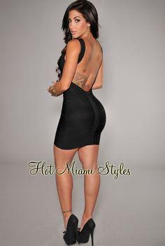 Black Plunging Back Silky Bandage Dress