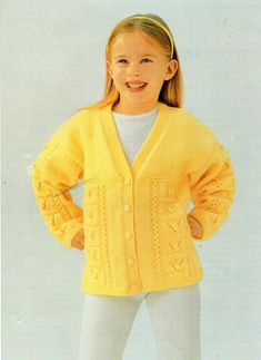3842ea196592 Girls Knitting pattern Girls Cardigan Childs Cardigan Easy Knit V ...
