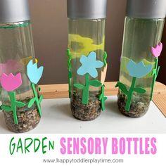 Garden Sensory Bottles - HAPPY TODDLER PLAYTIME Sensory Bottles Preschool, Glitter Sensory Bottles, Sensory Activities For Preschoolers, Sensory Wall, Sensory Toys, Indoor Activities, Sensory Boards, Calming Bottle, Fun Crafts To Do