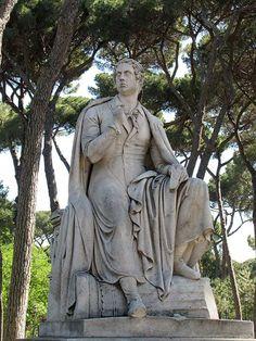 Copy of the statue of Byron by Bertel Thorvaldsen, Villa Borghese gardens Rome 2012
