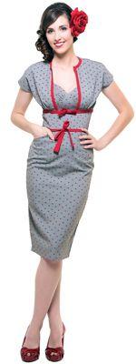 1940s Style Dress- Anchors Pencil Skirt With Bolero Dress $128.00