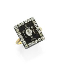 An Antique Gold, Black Enamel and Diamond Memento Mori Ring, Circa 19th Century
