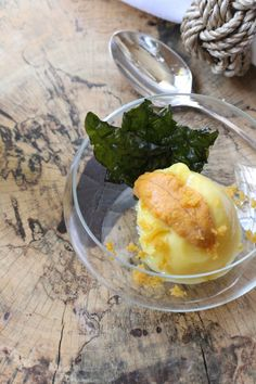spenser mag Issue Five | Corn Sorbet with Uni Bottarga and Crispy Kale (adapted from a recipe by Tyson Cole) photo credit:  Meredith Paige