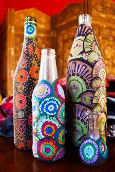 DIY vases (fabric on bottles)