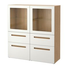 £310 - BESTÅ Storage combination w glass doors - oak effect/Marviken white clear glass, drawer runner, soft-closing - IKEA