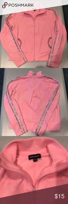Bebe Sport Polartec Bubble Gum Pink Jacket Jacket in Great Condition other than some wear on elbows and edge of sleeves as shown in photos . Price Reflects Condition . bebe Jackets & Coats