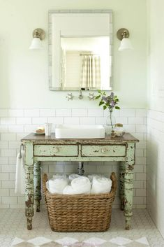 Weathered Green Vanity with Rectangular Sink