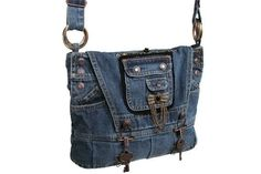 Steampunk Bag / Denim Purse / Recycled Denim by kkdesignerhandbags, $50.00: