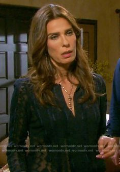 4597b2b3bab7 Hope s sheer navy embroidered blouse on Days of our Lives. Kristian Alfonso  ...