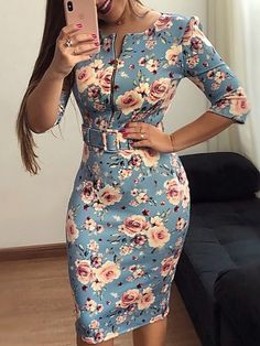 Floral Print Zipper Up Front Belted Dress - Floral Print Zipper Up Front Belted Dress Source by MissKristja - Cute Dresses, Beautiful Dresses, Casual Dresses, Short Dresses, Dresses For Work, Fall Dresses, African Fashion Dresses, African Dress, Dress Outfits