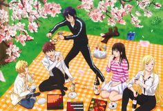 Noragami (ノラガミ)A friendly little picnic scene with a drunken Bishamon and Yato regales us in the latest issue of PASH! Magazine (Amazon US | JP), with new art work by animation director Hideto Komori (小森秀人).