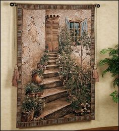 Tuscan Villa II Tapestry Wall Hanging - Italian Countryside Picture at #medieval tapestries