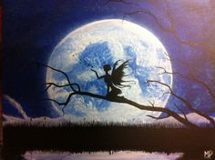A Quiet Wish 14 x 18 acrylic on canvas Fairy on a branch making a wish