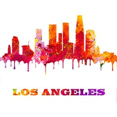 los angeles skyline paint splashes la city outline art print los 607