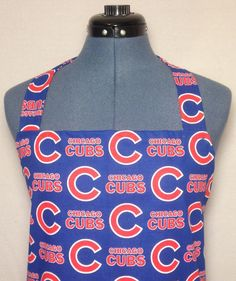 Chicago Cubs Full Size BBQ Apron with Pockets by AuntShellDesigns