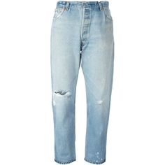 Re/Done distressed cropped jeans (€390) ❤ liked on Polyvore featuring jeans, blue, distressed jeans, ripped jeans, ripped blue jeans, cropped jeans and vintage jeans