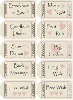 free printable love coupons page