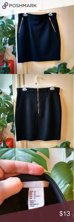 Black Mini/Pencil Skirt with Zip Pockets Black mini skirt with nice and room-y zipper pockets from H&M!  Like new, only worn a couple times. 91% Polyester 9% Elastane, fyi (the fabric has just a little bit of give but the skirt holds its shape).  A closet ~essential~  Measurements (lying flat) Length: 20'' Waste: 16'' Hips (measured halfway down): 20'' H&M Skirts Mini