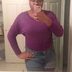 Slightly cropped bejeweled purple top Worn once and is slightly cropped in the front but not overly exposing. True purple Delias Tops Tees - Long Sleeve