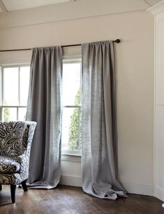 Belgian Linen Drapery Panel - Gray - traditional - curtains - by Ballard Designs Grey Linen Curtains, Long Curtains, Burlap Curtains, Curtains With Blinds, Blue Curtains, Wood Blinds, Linen Fabric, Traditional Curtains, Living Room Grey