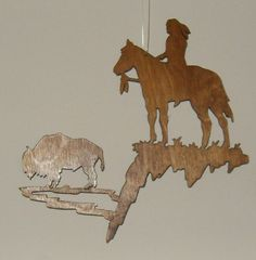 Wooden Buffalo & Indian Cutout