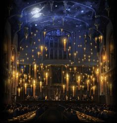 The Great Hall in Hogwarts Castle is the main gathering area in the school located off the Entrance Hall. Students eat their meals, receive daily owl post, and have certain special events here. The Great Hall is a large hall that can easily hold all of the school's students, staff, and guests. It has tall walls that reach up to the ceiling, which is covered with candles and enchanted to look like the sky above. At the front of the hall, is the staff table, also known as the High Table…