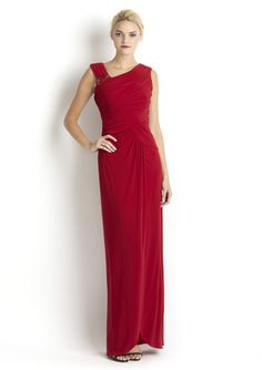 ADRIANNA PAPELL Ruched Asymmetrical Gown with Brooch