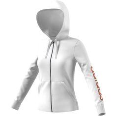 Women's Adidas Essential Linear Logo Fz Hoodie (270 SEK) ❤ liked on Polyvore featuring tops, hoodies, white, adidas, pocket hoodie, adidas hoodie, logo hoodie and white hooded sweatshirt