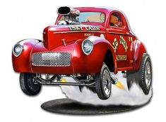 1940 Willys Big John Gasser Metal Sign 15 x 12 Inches - cars. Cool Car Drawings, Vintage Metal Signs, Garage Art, Car Posters, Automotive Photography, Automotive Design, Automotive News, Car Shop, Classic Trucks