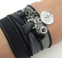 Tree of Life Silk Wrap Bracelet Yoga by BohemianEarthDesigns, $25.95