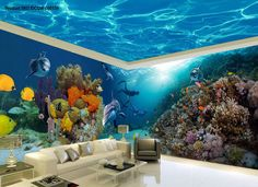 3D Coral Dophin Colorful Fish Entire Room Wallpaper Wall Mural Art Prints IDCQW-000159
