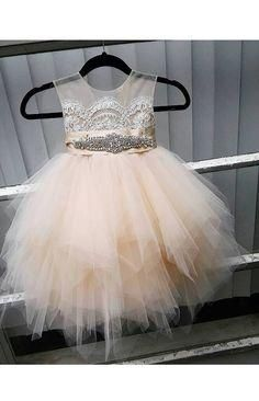 2016 Flower Girls Dresses For Wedding Sheer Neck Beaded Communion Dress Appliques Beading New Birthday Wear Pageant Dress Flowergirl Wedding Young Girls Dresses Baptism Dresses For Toddlers From Yoyobridal, $69.11| Dhgate.Com
