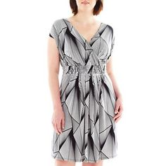Worthington® Print V-Neck Dress - Plus - jcpenney
