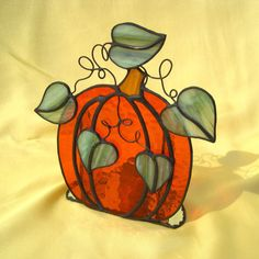 Pumpkin Stained Glass Candle Holder by hobbymakers on Etsy, $41.00