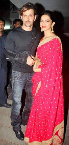 Hrithik Roshan and Deepika Padukone at Aamir Khan's Diwali bash.