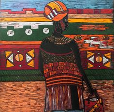 Figurative Prints at African Design, African Art, Fine Art Auctions, Art Festival, Wood Sculpture, Art Pages, Woodblock Print, Home Art, Art Gallery