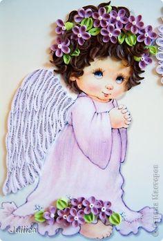 Картина панно рисунок День рождения Квиллинг Ангелочки Бумажные полосы фото 5