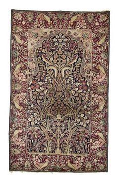 Persisch-Kerman-Gebetsteppich  um 1890, Senneh-Knoten, mit kleinen Schäden, 214*134 cm Persian-Kirman-prayer rug  around 1890, senneh-knot, with small damages, 214*134 cm