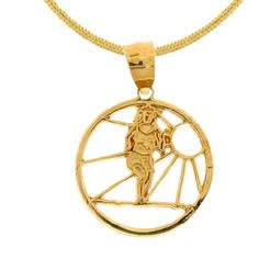 14k Yellow or White Gold Running with the Sun Cut-Out Disc Dazzlers Charm 6340