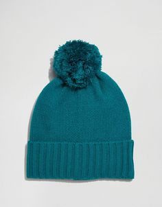ASOS+Bobble+Beanie+in+Green Knitted Hats, Fashion Online, Asos, Winter Hats, Knitting, Beanies, Green, Tricot, Breien